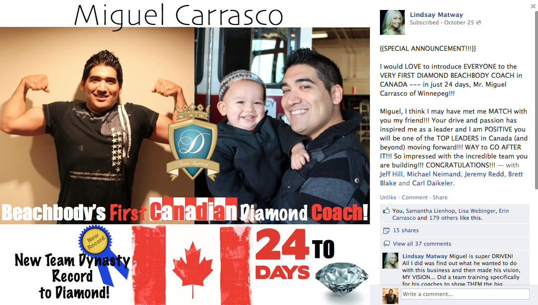 First Team Beachbody Diamond Coach in Canada
