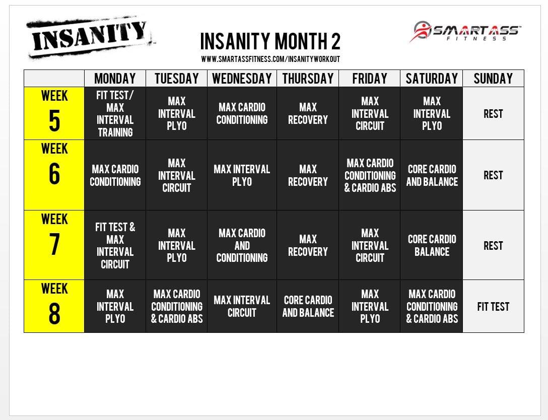 Insanity Workout Schedule Smart Ass Fitness