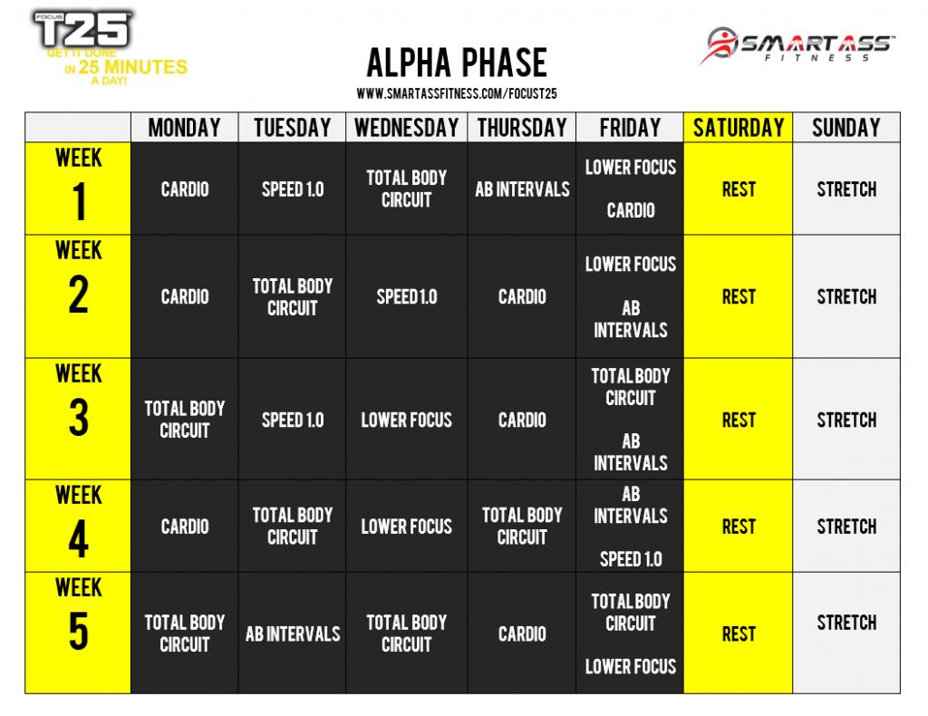 Focus T25 Schedule - Alpha Phase